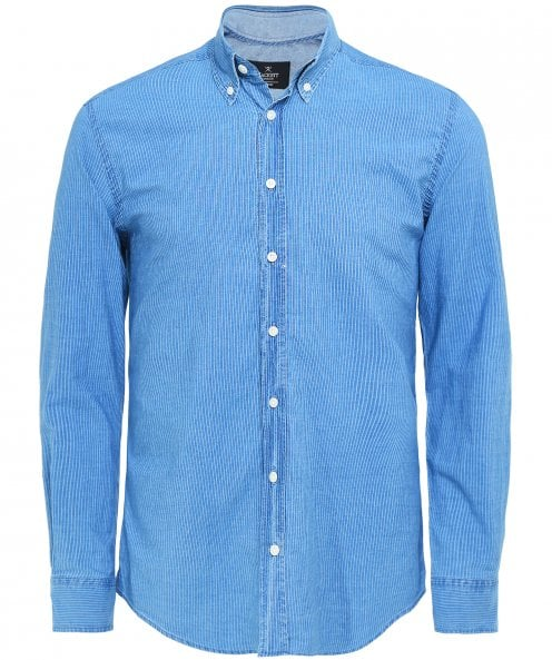 Hackett Slim Fit Indigo Dyed Striped Shirt