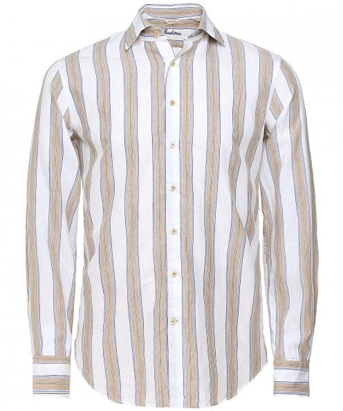 Stenstroms Fitted Body Linen Blend Striped Shirt
