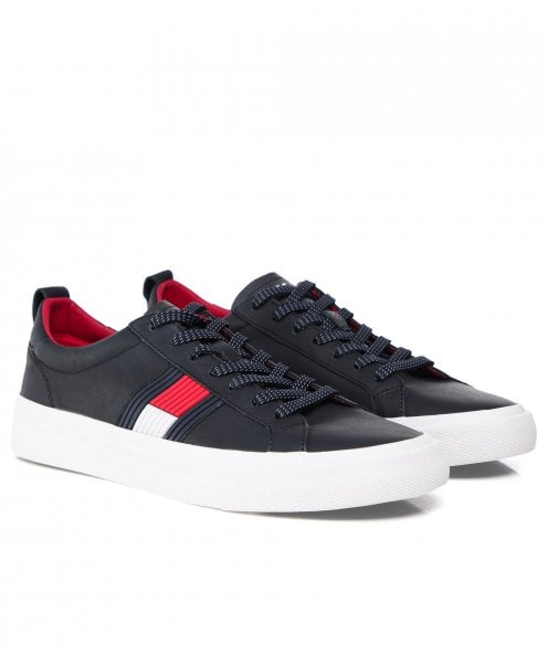 Tommy Hilfiger Tumbled Leather Flag Trainers