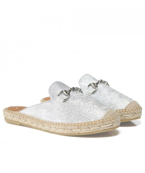 Kanna Leather Glitter Sliders