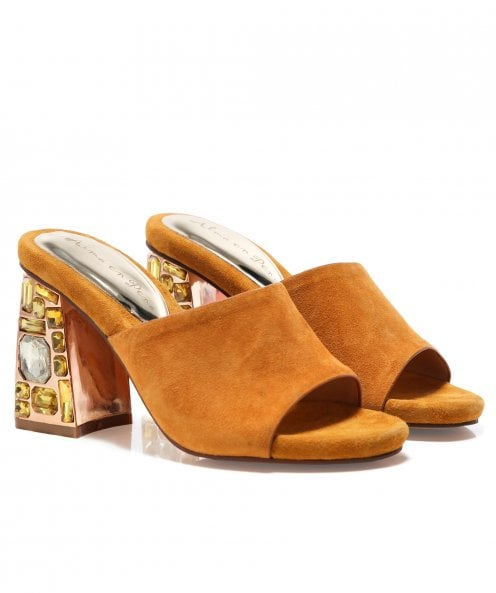 Alma en Pena Suede Mules with Gemstone Heel