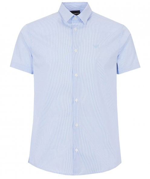 Armani Stretch Short Sleeve Striped Shirt
