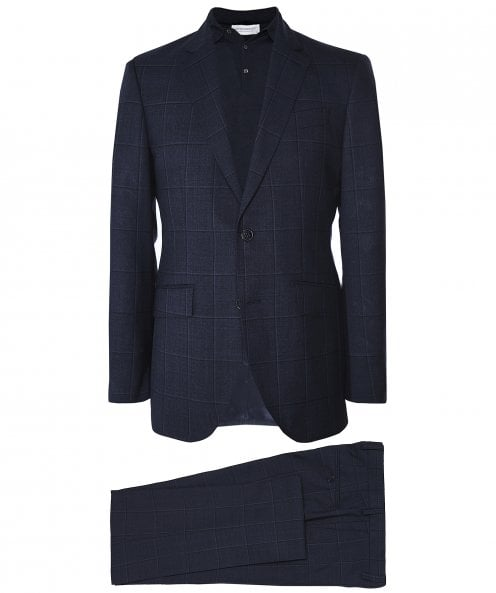 Hackett Wool Shadow Windowpane Check Suit