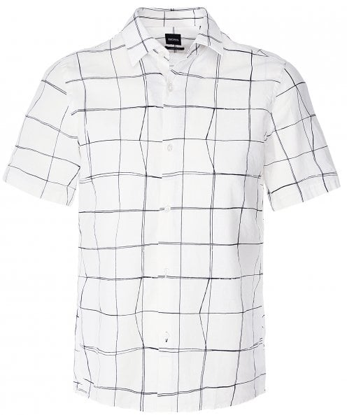 BOSS Linen Blend Short Sleeve Lukka_F Shirt