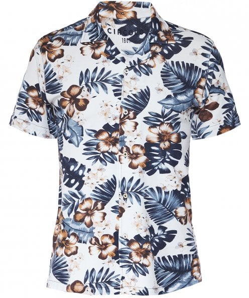 Circolo 1901 Stretch Cotton Pique Hawaiian Floral Shirt