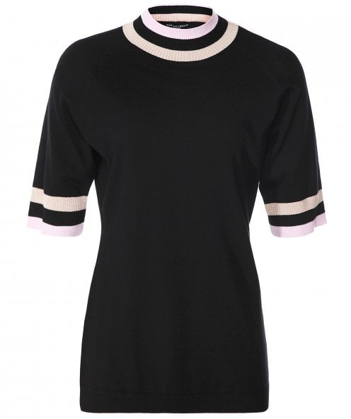 Ilse Jacobsen Short Sleeve Striped Trim Jumper