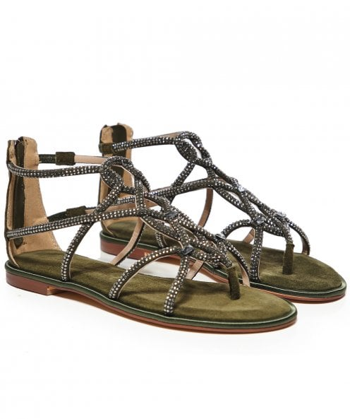 Alma en Pena Suede Diamanté Gladiator Sandals