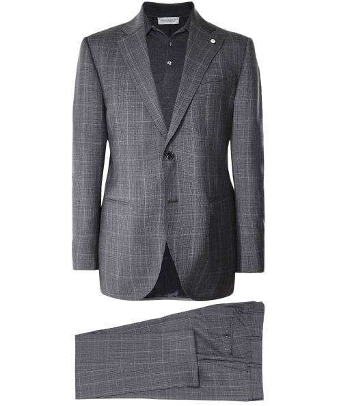 Luigi Bianchi Wool Windowpane Check Suit