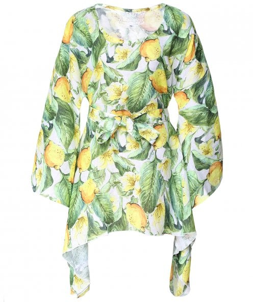 Luisa Positano Vanessa Lemon Print Kaftan Dress