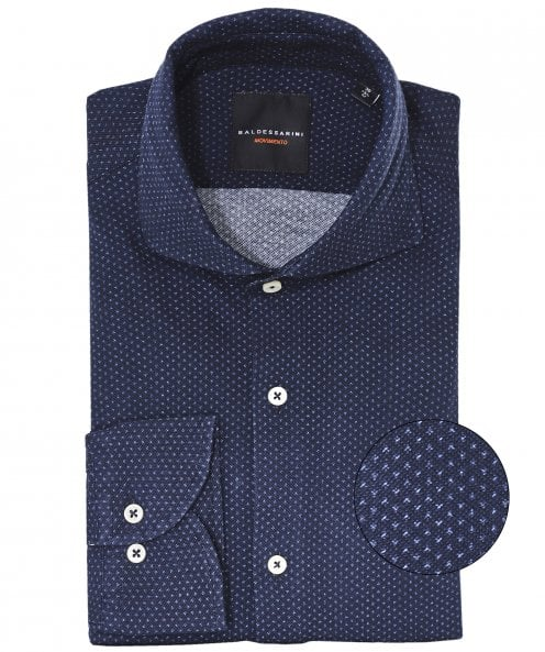 Baldessarini Tailored Fit Micro Pattern Henry Shirt