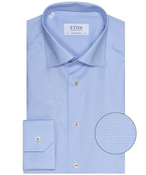 Eton Contemporary Fit Micro Houndstooth Shirt