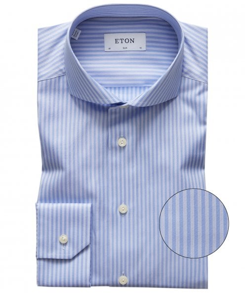 Eton Slim Fit Lyocell Blend Striped Shirt