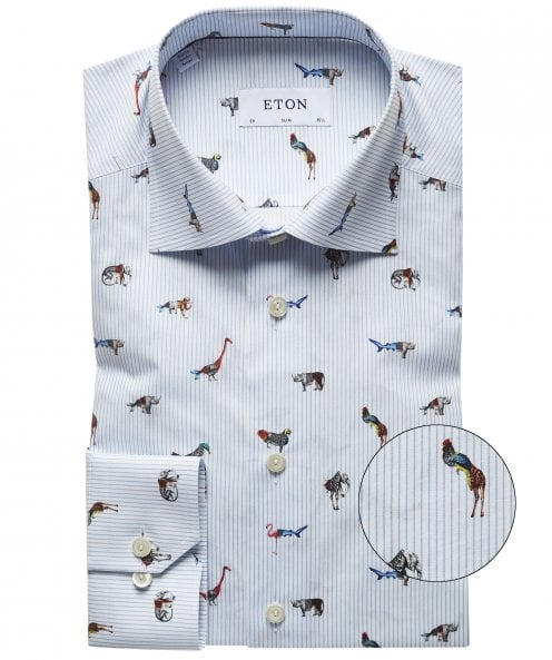 Eton Slim Fit Striped Animal Shirt