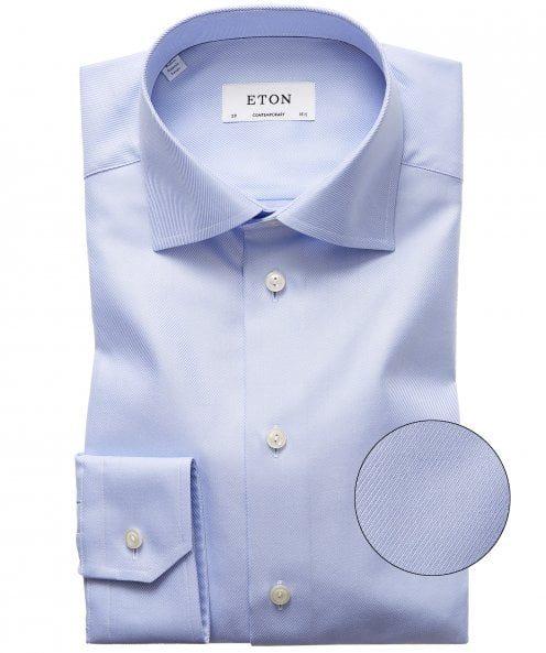 Eton Contemporary Fit Textured Twill Shirt
