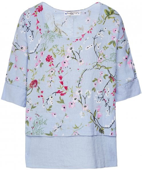 Blueberry Italia Linen Garden Print Top