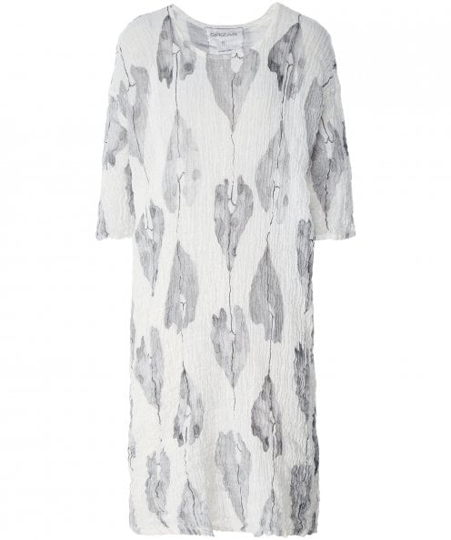 Grizas Crinkled Linen Leaf Print Tunic