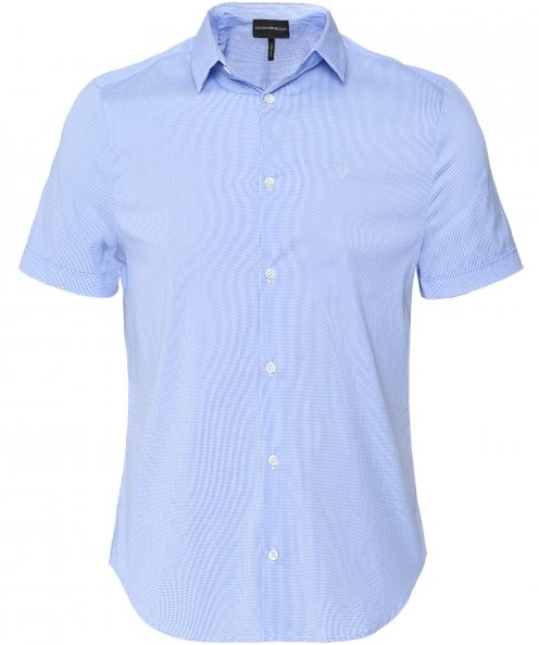 Armani Stretch Short Sleeve Gingham Shirt