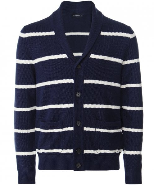 Hackett Silk Blend Striped Shawl Cardigan