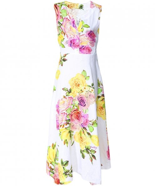 Luisa Positano Veronica Button Front Rose Print Dress