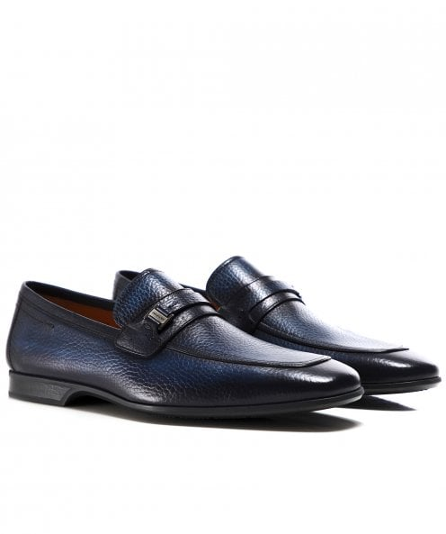 Magnanni Tumbled Leather Strap Loafers