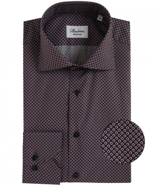 Stenstroms Fitted Body Geometric Print Shirt
