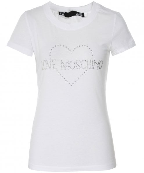Moschino Love Moschino Embellished Heart Logo T-Shirt
