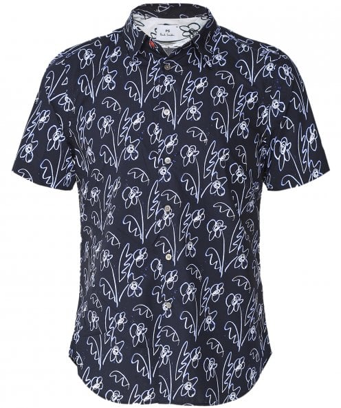 PS by Paul Smith Tailored Fit Short Sleeve Flower Shirt