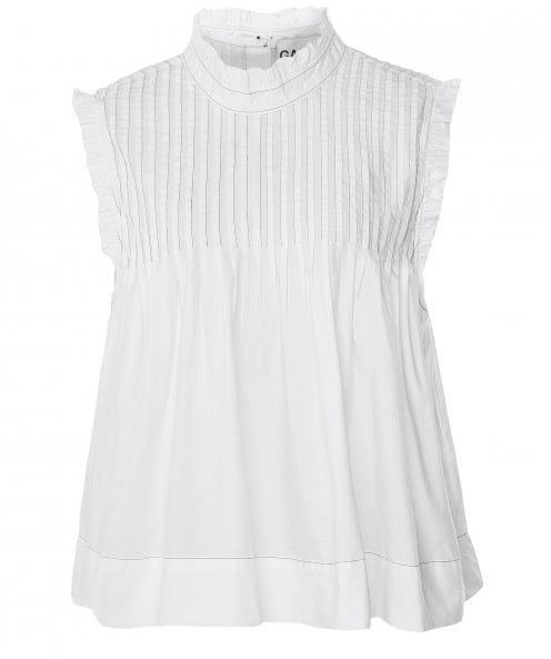 Ganni High Neck Pleated Top