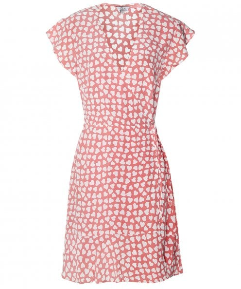 Rails Silk Leanne Heart Print Wrap Dress