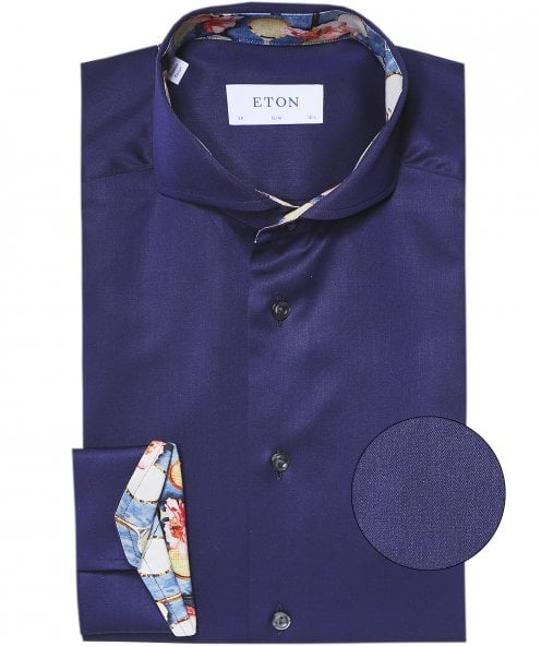 Eton Slim Fit Floral Racquet Trim Shirt