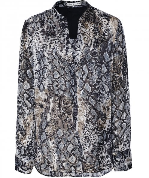 Alice and Olivia Amos Animal Print Blouse