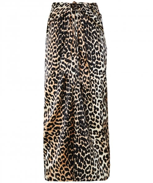 Ganni Silk Stretch Leopard Print Skirt