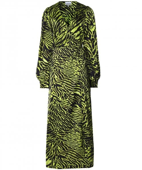 Ganni Silk Stretch Tiger Print Wrap Dress