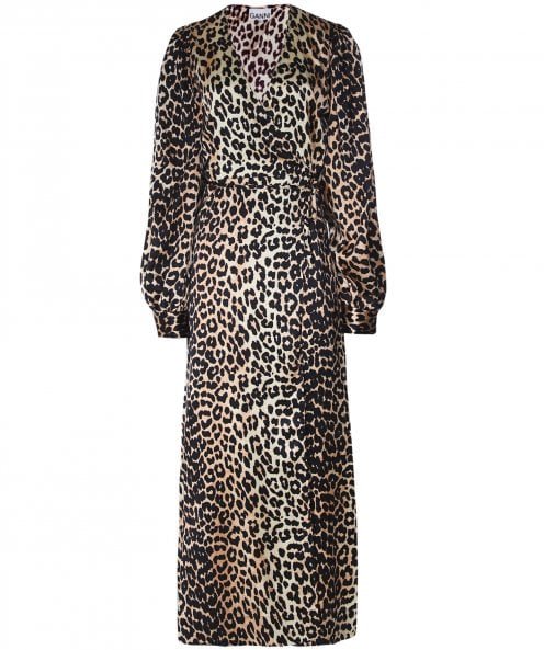 Ganni Silk Stretch Leopard Print Wrap Dress