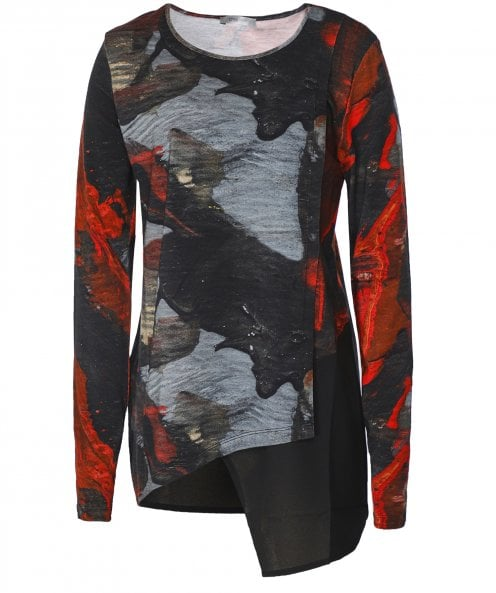 Crea Concept Abstract Print Asymmetric Top