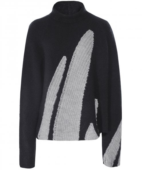 Crea Concept Contrast Knit Roll Neck Jumper