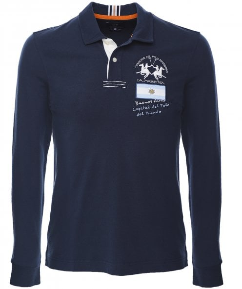 La Martina Slim Fit Long Sleeve Overview Polo Shirt