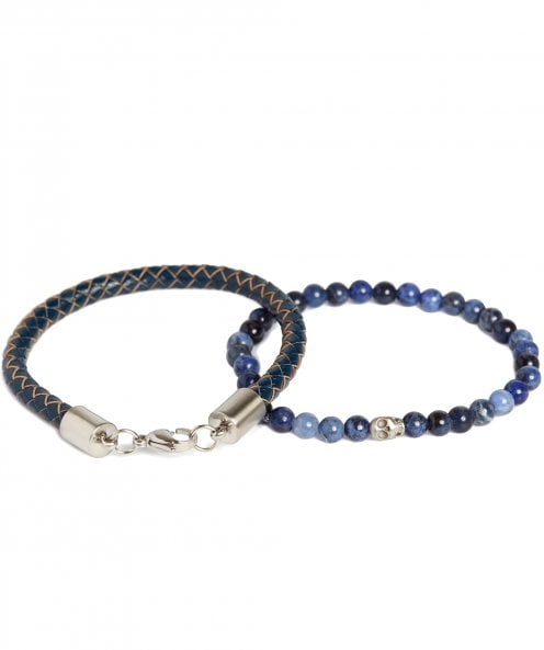 Simon Carter Beaded & Leather Bracelet Set