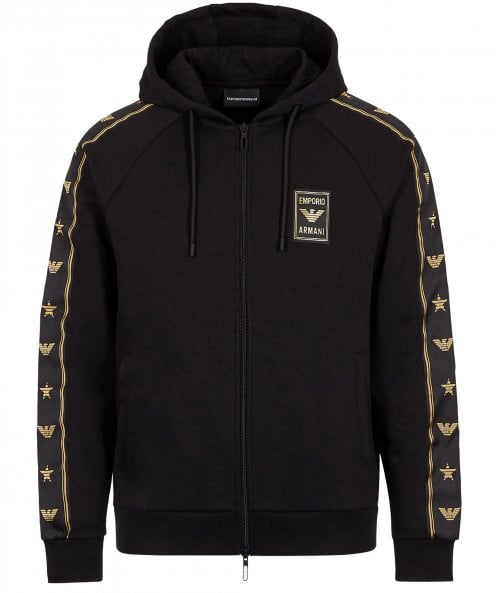 Armani Zip-Through Logo Tape Trim Hoodie