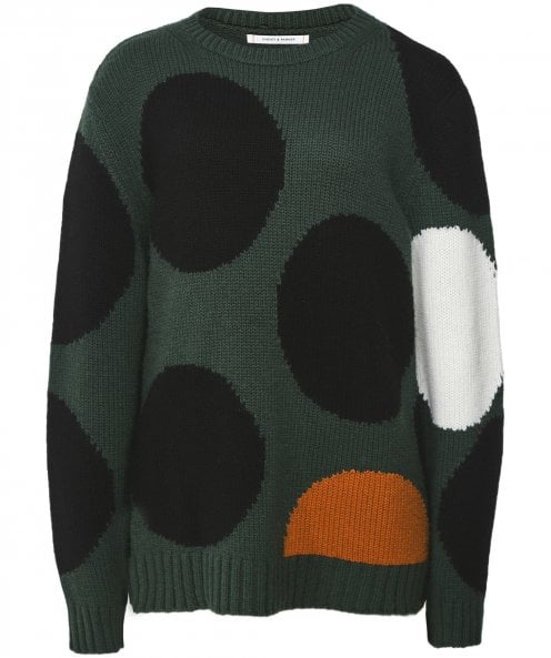 Chinti and Parker Oversized Cashmere and Wool Blend Dot Jumper