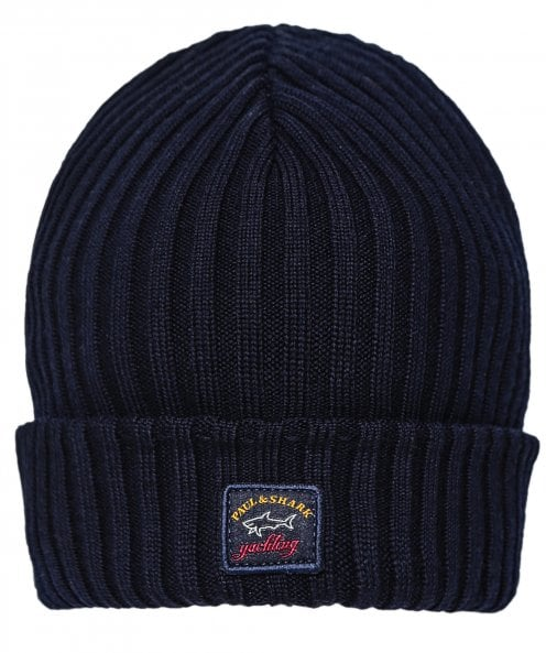 Paul and Shark Virgin Wool Ribbed Beanie