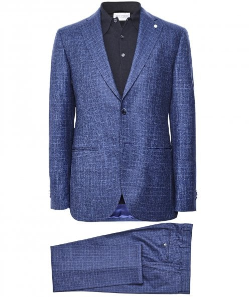 Luigi Bianchi Wool Blend Prince of Wales Check Suit
