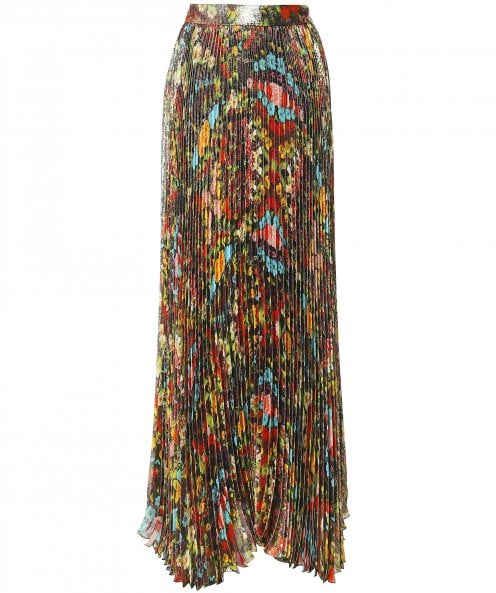 Alice and Olivia Katz Floral Pleated Maxi Skirt