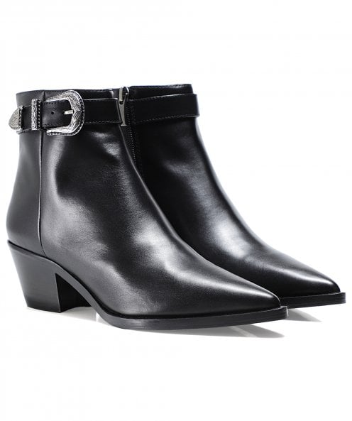 Bruno Premi Leather Western Buckle Ankle Boots