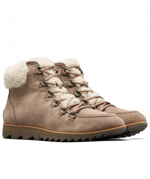 Sorel Suede Harlow Lace Cozy Shearling Trim Boots