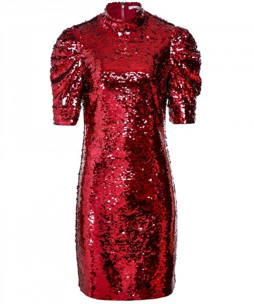 Alice and Olivia Brenna Sequin Puff Sleeve Dress