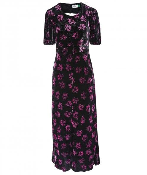 RIXO Daisy Velvet Floral Maxi Dress