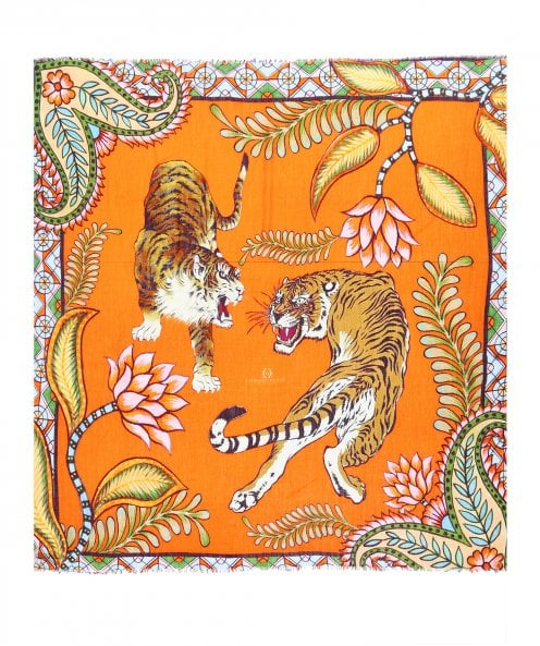 Simone Bruns Tiger and Jungle Cashmere Scarf