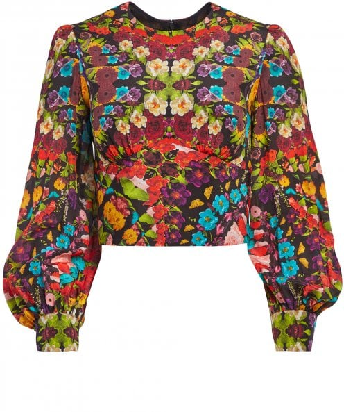 Alice and Olivia Quilla Blouson Sleeve Floral Crop Top