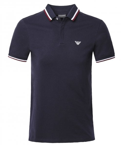 Armani Stretch Cotton Pique Twin Tipped Polo Shirt